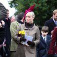 Zara Phillips à la sortie de la messe de Noël de la famille royale UK