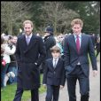Le Prince William et le Prince Harry à la sortie de la messe de Noël de la famille royale UK