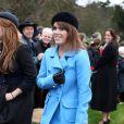 La Princesse Eugenie à la sortie de la messe de Noël de la famille royale UK