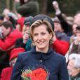 Sophie, comtesse du Wessex à la sortie de la messe de Noël de la famille royale UK