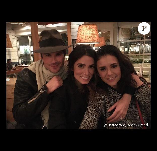Ian Somerhalder retrouve son ex Nina Dobrev lors d'un dîner avec sa femme Nikki Reed. Photo publiée sur Instagram le 7 février 2017