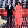 Annabelle Belmondo et Anouchka Delon lors du 67e Sanremo Festival 2017 au Teatro Ariston, San Remo, le 9 février 2017.