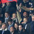 Fauve Hautot et son compagnon Jules Renault lors du match de Ligue des Champions, 8ème de finale, Paris Saint-Germain contre le FC Barcelona au parc des Princes à Paris, France, le 14 février 2017. Le PSG a remporté le match sur le score de 4-0. © Cyril Moreau/Bestimage