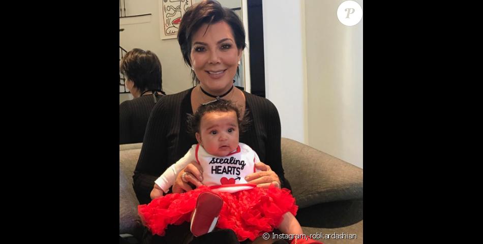 Rob Kardashian passe la St-Valentin avec sa mère Kris Jenner et sa fille Dream. Photo publiée sur Instagram le 14 février 2017