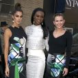 Iris Mittenaere, Miss Univers et Miss France 2016, Deshauna Barber , Miss USA 2016 et Karlie Hay, Miss Teen USA arrivent à la fashion week à New York City, New York, Etats-Unis, le 15 février 2017. © Agence/Bestimage