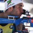 Martin Fourcade lors de la mass start aux championnats du monde de biathlon à Hochfilzen en Autriche le 19 février 2017. Un peu défaillant au tir, il devra se contenter de la 5e place.
