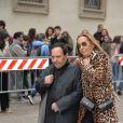Azzedine Alaïa et guest - Arrivée des personnalités à la cérémonie religieuse en l'honneur de Franca Sozzani (rédactrice en chef de Vogue Italie décédée le 22 décembre 2016) à Milan, le 27 février 2017