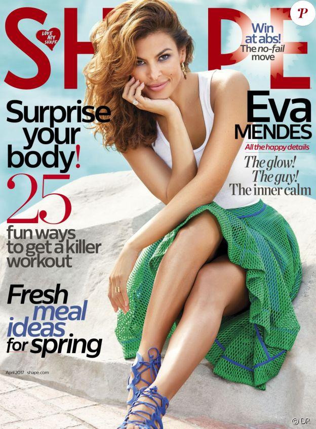 Eva Mendes en couverture du magazine Shape - avril 2017