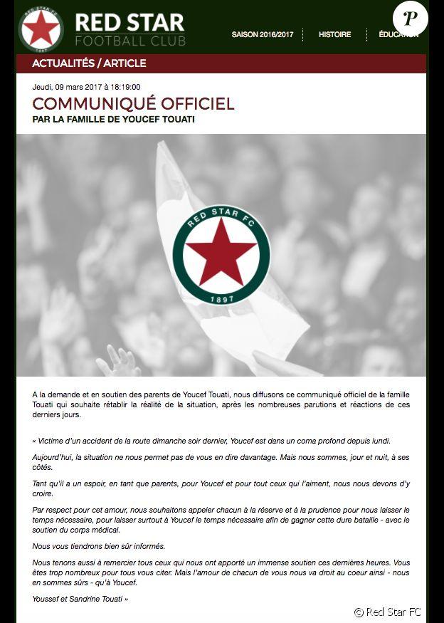 Communiqué des parents de Youcef Touati, publié le 9 mars 2017 sur le site de son club, le Red Star FC, suite à l'accident mortel survenu quelques jours plus tôt sur l'A1.