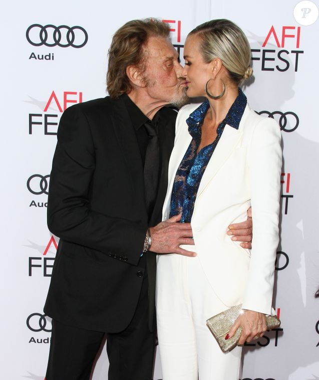 "Johnny Hallyday et sa femme Laeticia Hallyday à la première de ""Rules Don't Apply"" à Los Angeles, le 10 novembre 2016."