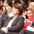 Francois Hollande, Martine Aubry, Julie Gayet - Convention d'investiture de Francois Hollande a la tete du PS pour l'election presidentielle de 2012 à la Halle Freyssinet à Paris, le 22 octobre 2011.