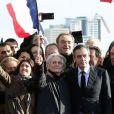 Marie Fillon et ses parents Penelope Fillon et François Fillon - Rassemblement de soutien à François Fillon, candidat du parti Les Républicains à la présidentielle, Place du trocadéro à Paris le 5 mars 2017.