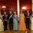 La princesse Mary de Danemark, le prince Frederik de Danemark, le roi Philippe de Belgique, la reine Margrethe II de Danemark, la reine Mathilde de Belgique, le prince Joachim de Danemark et la princesse Marie de Danemark - Le roi Philippe de Belgique et la reine Mathilde de Belgique en visite d'Etat au Danemark, sont invités au banquet d'Etat au Palais de Christiansborg à Copenhague au Danemark le 28 mars 2017.