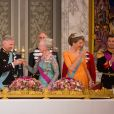 """""""La princesse Mary de Danemark, le roi Philippe de Belgique, la reine Margrethe II de Danemark, la reine Mathilde de Belgique, le prince Frederik de Danemark - Le roi Philippe de Belgique et la reine Mathilde de Belgique en visite d'Etat au Danemark, sont invités au banquet d'Etat au Palais de Christiansborg à Copenhague au Danemark le 28 mars 2017."""""""