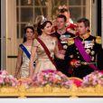 Le prince Frederik et la princesse Mary de Danemark, suivis du prince Joachim et de la princesse Marie au banquet d'Etat au Palais de Christiansborg à Copenhague au Danemark le 28 mars 2017.