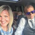 Michele Scarponi en famille avec sa compagne Anna et leurs jumeaux, photo Instagram le 15 avril 2017. Le coureur cycliste italien de l'équipe Astana a été tué samedi 22 avril 2017 par un camion lors d'une sortie d'entraînement près de chez lui dans la province d'Ancône.