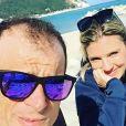 Michele Scarponi et sa compagne Anna Tommasi, photo Instagram du 2 mars 2017 à Sirolo. Le coureur cycliste italien de l'équipe Astana a été tué samedi 22 avril 2017 par un camion lors d'une sortie d'entraînement près de chez lui dans la province d'Ancône.