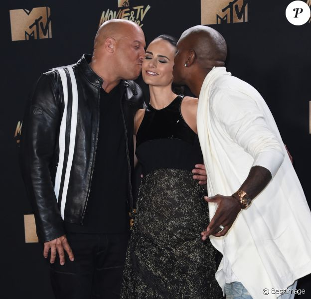 Vin Diesel, Jordana Brewster, Tyrese Gibson lors des ''2017 MTV Movie And TV Awards'' à Los Angeles, le 7 mai 2017.