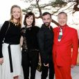 Delphine Arnault, Mirai Yamamoto, Nicolas Ghesquiere et Kansai Yamamotoassistent au défilé Louis Vuitton (collection prêt-à-porter croisière 2018) au Miho Museum. Kyoto, le 14 mai 2017.