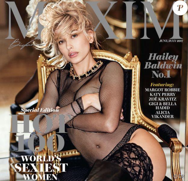 Hailey Baldwin en couverture du numéro de juin/juillet 2017 de Maxim. Photo par Gilles Bensimon.