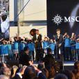 Le groupe Kids United - Soirée du baptême du paquebot MSC Meraviglia au Havre le 23 juin 2017. Le MSC Meraviglia, plus gros paquebot européen, inauguré par E. Macron le 31 mai dernier, a été baptisé au Havre par S. Loren, trois jours après avoir quitté les chantiers navals STX de Saint-Nazaire. L'actrice italienne, marraine du navire, comme de tous les autres bateaux de croisière de MSC depuis une dizaine d'années, a coupé le ruban avec des ciseaux, déclenchant ainsi le mécanisme faisant s'écraser la traditionnelle bouteille de champagne sur la coque. Cette cérémonie, qui s'est déroulée à l'occasion du 500e anniversaire du Havre, marque aussi l'importance grandissante de du groupe MSC pour le port normand. © Rachid Bellak/Bestimage