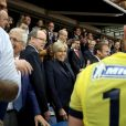 Le président de l'Assemblée nationale Claude Bartolone, le prince Albert II de Monaco, la première dame Brigitte Macron (Trogneux), son mari le président de la République Emmanuel Macron - Finale du Top 14, ASM Clermont contre le RC Toulon au Stade de France à Saint-Denis, , France, le 4 juin 2017. ASM Clermont remporte le match contre RC Toulon 22-16. © Agence/Bestimage