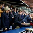Le prince Albert II de Monaco, la première dame Brigitte Macron (Trogneux), son mari le président de la République Emmanuel Macron, la ministre des Sports Laura Flessel et le président de la Fédération française de Rugby à XV (FFR) Bernard Laporte - Finale du Top 14, ASM Clermont contre le RC Toulon au Stade de France à Saint-Denis, , France, le 4 juin 2017. ASM Clermont remporte le match contre RC Toulon 22-16. © Agence/Bestimage