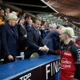Le président de l'Assemblée nationale Claude Bartolone, le prince Albert II de Monaco, la première dame Brigitte Macron (Trogneux), son mari le président de la République Emmanuel Macron et la ministre des Sports Laura Flessel - Finale du Top 14, ASM Clermont contre le RC Toulon au Stade de France à Saint-Denis, , France, le 4 juin 2017. ASM Clermont remporte le match contre RC Toulon 22-16. © Agence/Bestimage