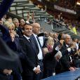 Le président de l'Assemblée nationale Claude Bartolone, le prince Albert II de Monaco, la première dame Brigitte Macron (Trogneux), son mari le président de la République Emmanuel Macron et le président de la Fédération française de Rugby à XV (FFR) Bernard Laporte - Finale du Top 14, ASM Clermont contre le RC Toulon au Stade de France à Saint-Denis, , le 4 juin 2017.