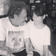 Johnny Hallyday et sa fille Joy partageant un moment complice avant le lancement de la tournée des Vieilles Canailles, le 10 juin 2017
