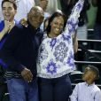 Richard Williams, sa femme Lakeisha Graham et leur fils Dylan Starr Williams dans les tribunes lors de l'Open de Miami à Key Biscayne, le 27 mars 2017.