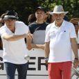 """Jean-Jacques Bourdin et Patrice Laffont - Tournoi de pétanque """"Grand Prix des Personnalités"""" à L'Isle-sur-la-Sorgue le 24 juin 2017 © Eric Etten / Bestimage"""
