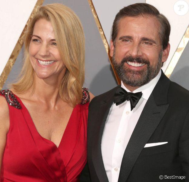 Steve Carell et sa femme Nancy - Photocall de la 88ème cérémonie des Oscars au Dolby Theatre à Hollywood. Le 28 février 2016