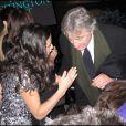 Soirée organisée au Nouveau Musée de Washington par le Huffington Post le 20 janvier 2009, jour de l'investiture de Barack Obama : Robert de Niro et Demi Moore essayent de s'entendre