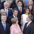 Brigitte Macron (Trogneux), son mari mmanuel Macron, Melania Trump, son mari Donald Trump, Angela Merkel et son mari Joachim Sauer - Photo de famille des participants du sommet du G20 et de leurs conjoints avant un concert à l'Elbphilharmonie à Hambourg, Allemagne, le 7 juillet 2017. © Ludovic Marin/Pool/Bestimage