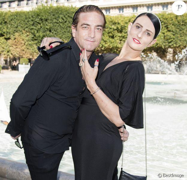 Ludovic Chancel (fils de Sheila) et sa compagne Sylvie Ortega Munos - Présentation Petit Bateau x Marie-Agnès Gillot dans le bassin du jardin du Palais Royal à Paris, France, le 3 juillet 2017.