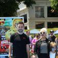 Christina Aguilera avec son fiancé Matthew Rutler et ses enfants Max Liron Bratman et Summer Rain Rutle à la première de 'Emoji' au théâtre Regency Village à Westwood, le 23 juillet 2017 © Pma/AdMedia via Zuma/Bestimage