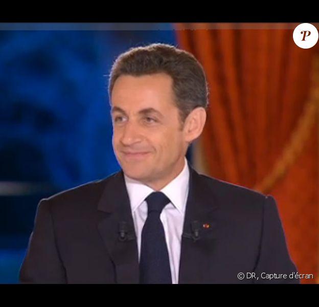 Nicolas Sarkozy interrogé par Laurence Ferrari, David Pujadas, Guy Lagache et Alain Duhamel au sujet de la crise, le 5/2/09 à l'Elysée