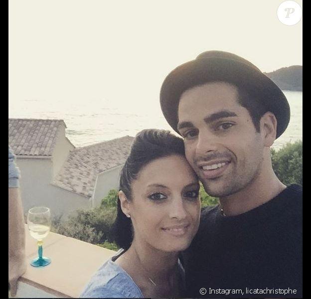 Christophe Licata et sa femme en Corse pour le mariage de Grégoire et Alizée, le 18 juin 2016