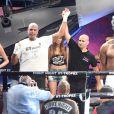 Gregory Tony (vainqueur), arbitre et Bob Sapp (vaincu) lors de la 5ème édition de la Fight Night à la Citadelle de Saint-Tropez, le 4 août 2017.La Fight Night est un concept original alliant les plus hautes valeurs des sports de combats internationaux au glamour de Saint-Tropez. Certains des plus grands noms de la boxe thaï et du kick-boxing mondiaux se sont affrontés sur ce ring faisant désormais partie de la légende de la boxe sous toutes ses formes. Cette prestigieuse soirée de gala est devenue au cours du temps LA marque d'un succès sportif et people retentissant. Un événement incontournable dans le village le plus célèbre de la Côte d'Azur. © Rachid Bellak/Bestimage04/08/2017 -