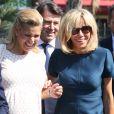 Laura Tenoudji (enceinte), son mari Christian Estrosi, maire de Nice, Brigitte Macron (Trogneux), Pierre-Olivier Costa lors de la cérémonie d'hommage aux victimes de l'attentat du 14 juillet 2016 à Nice, le 14 juillet 2017. © Bahi/Bestimage