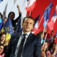 Emmanuel Macron (candidat du mouvement ''En marche !'' à l'élection présidentielle 2017) en meeting au Parc Chanot à Marseille, le 1er avril 2017. © Dominique Jacovides/Bestimage