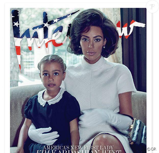 """Kim Kardashian et sa fille North West en couverture du magazine """"Interview"""". Photo par Steven Klein."""
