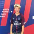 Enzo Castaldi, le fils de Flavie Flament et Benjamin Castaldi, heureux de porter le maillot du PSG de Neymar Jr. Instagram, le 23 août 2017.