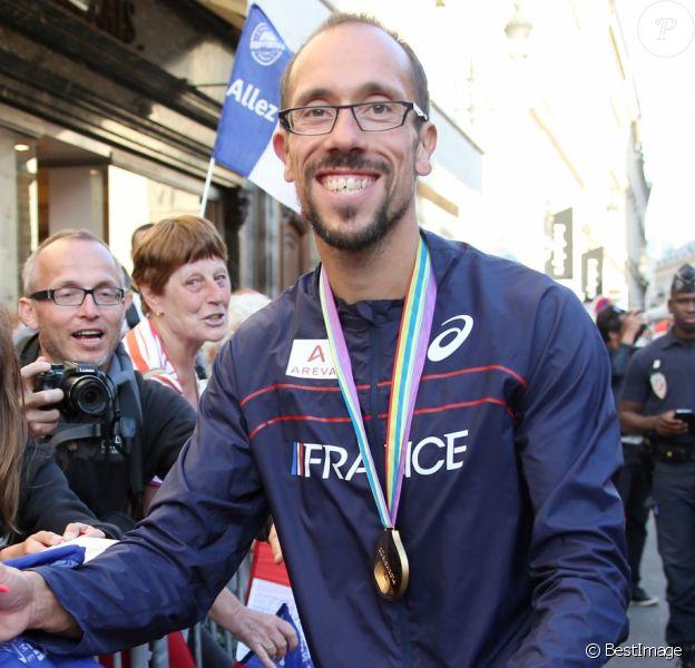 Yohann Diniz médaille d'or du 50 Km marche - L'équipe de France d'athlétisme a été reçue à l'Elysée par François Hollande et Najat Vallaud-Belkacem, le 18 août 2014.