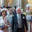 La reine Silvia et le roi Carl XVI Gustaf de Suède en la chapelle royale du palais Drottningholm, le 4 septembre 2017 à Stockholm, pour assister à une messe d'action de grâce en l'honneur de la naissance du prince Gabriel, second fils du prince Carl Philip et de la princesse Sofia.