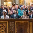 Le roi Carl XVI Gustaf, la reine Silvia, le prince Carl Philip, la princesse Victoria et le prince Daniel de Suède en la chapelle royale du palais Drottningholm, le 4 septembre 2017 à Stockholm, pour assister à une messe d'action de grâce en l'honneur de la naissance du prince Gabriel, second fils du prince Carl Philip et de la princesse Sofia.
