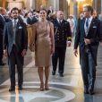 Le prince Carl Philip de Suède, la princesse Victoria et le prince Daniel en la chapelle royale du palais Drottningholm, le 4 septembre 2017 à Stockholm, pour assister à une messe d'action de grâce en l'honneur de la naissance du prince Gabriel, second fils du prince Carl Philip et de la princesse Sofia.
