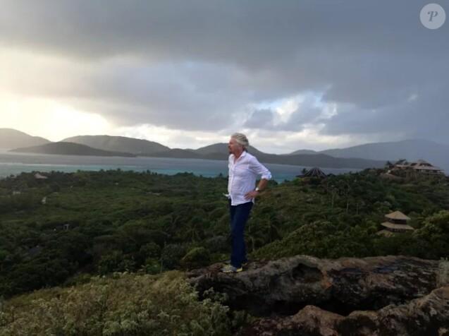 Richard Branson sur l' île privée des îles Vierges britanniques, Necker Island, avant l'arrivée de l'ouragan Irma, le 6 septembre 2017