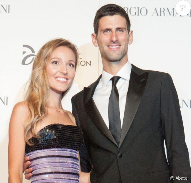 Jelena et Novak Djokovic lors d'un gala de charité organisé par la fondation du joueur de tennis serbe, à Milan, le 20 septembre 2016.